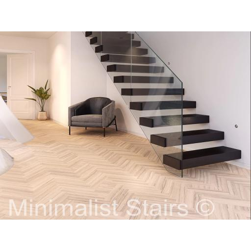 Complete 12 Step Solid Black Varnished Oak Floating Stair Kit